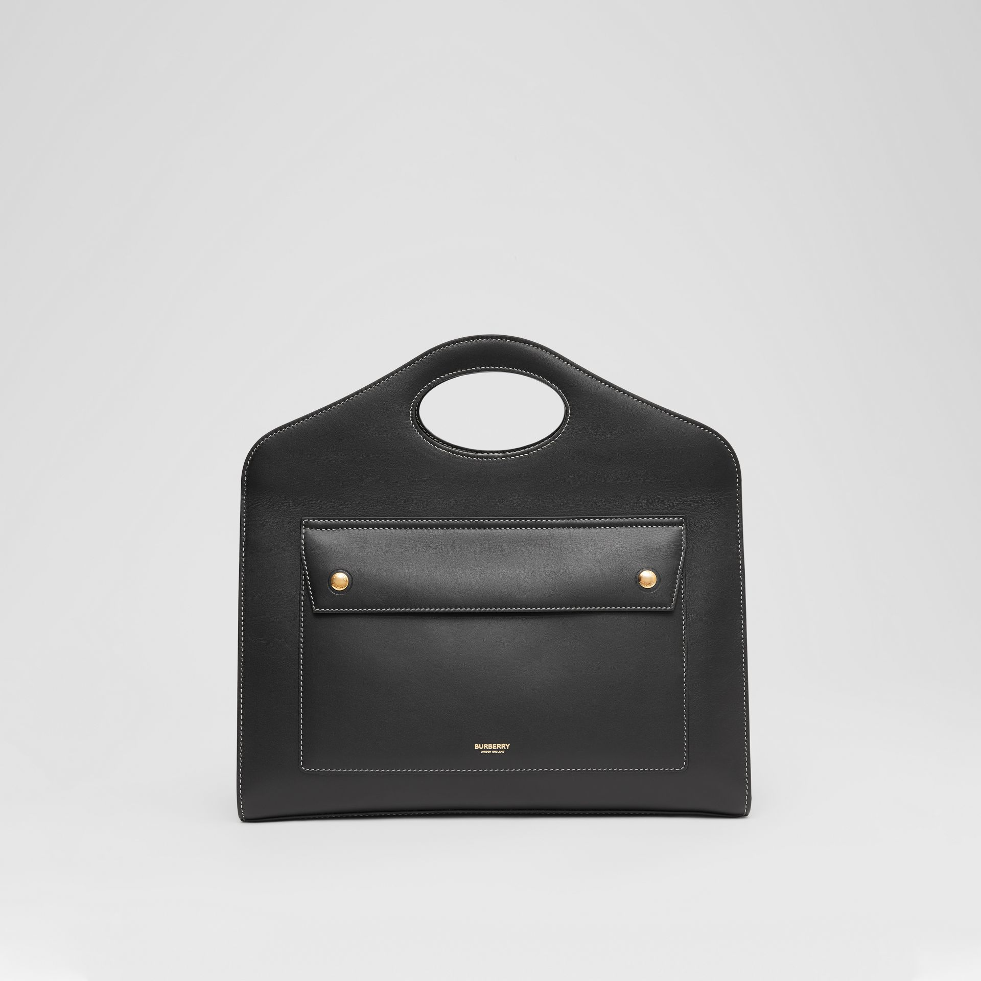 Medium Topstitched Leather Pocket Tote in Black - Women | Burberry - gallery image 0
