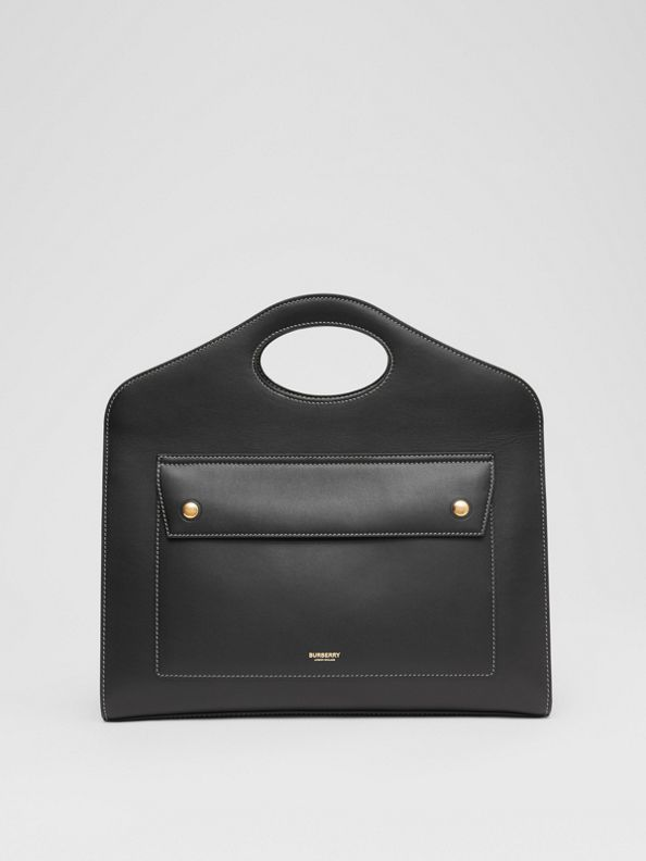 Medium Topstitched Leather Pocket Tote in Black