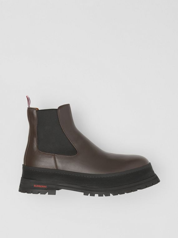 Logo Detail Leather Chelsea Boots in Dark Chocolate