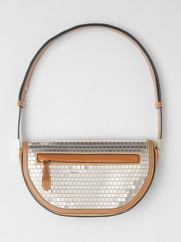 Small Mirrored Suede Olympia Bag in Warm Tan