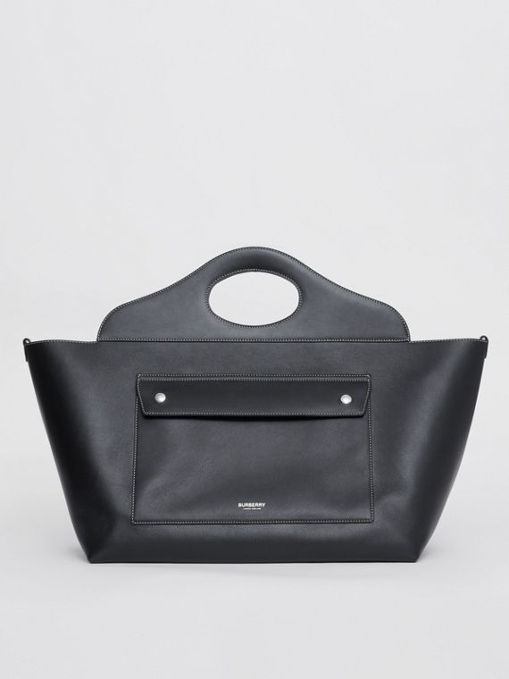 Medium Leather Soft Pocket Tote in Black