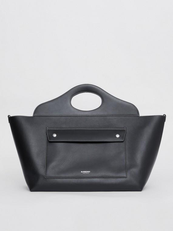 Medium Leather Soft Pocket Tote in Black