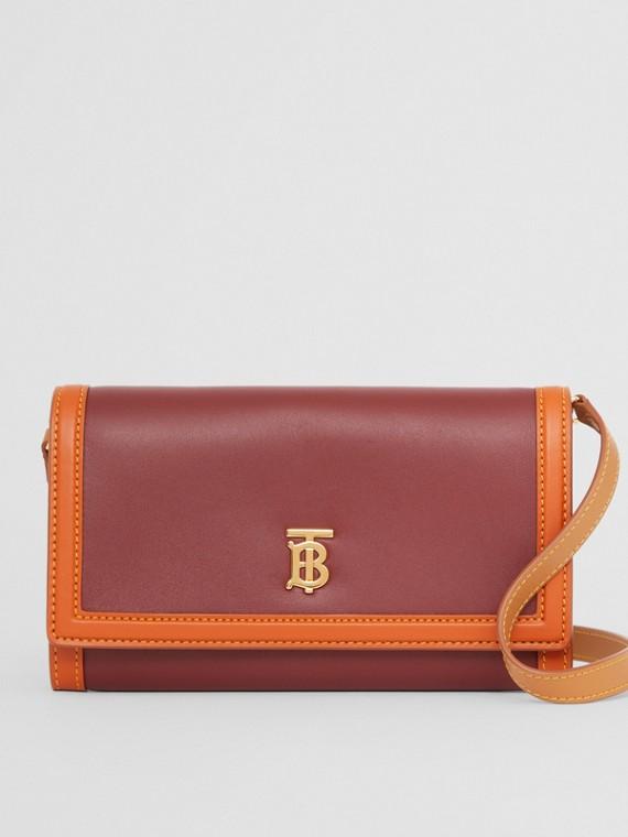 Monogram Motif Leather Wallet with Detachable Strap in Garnet