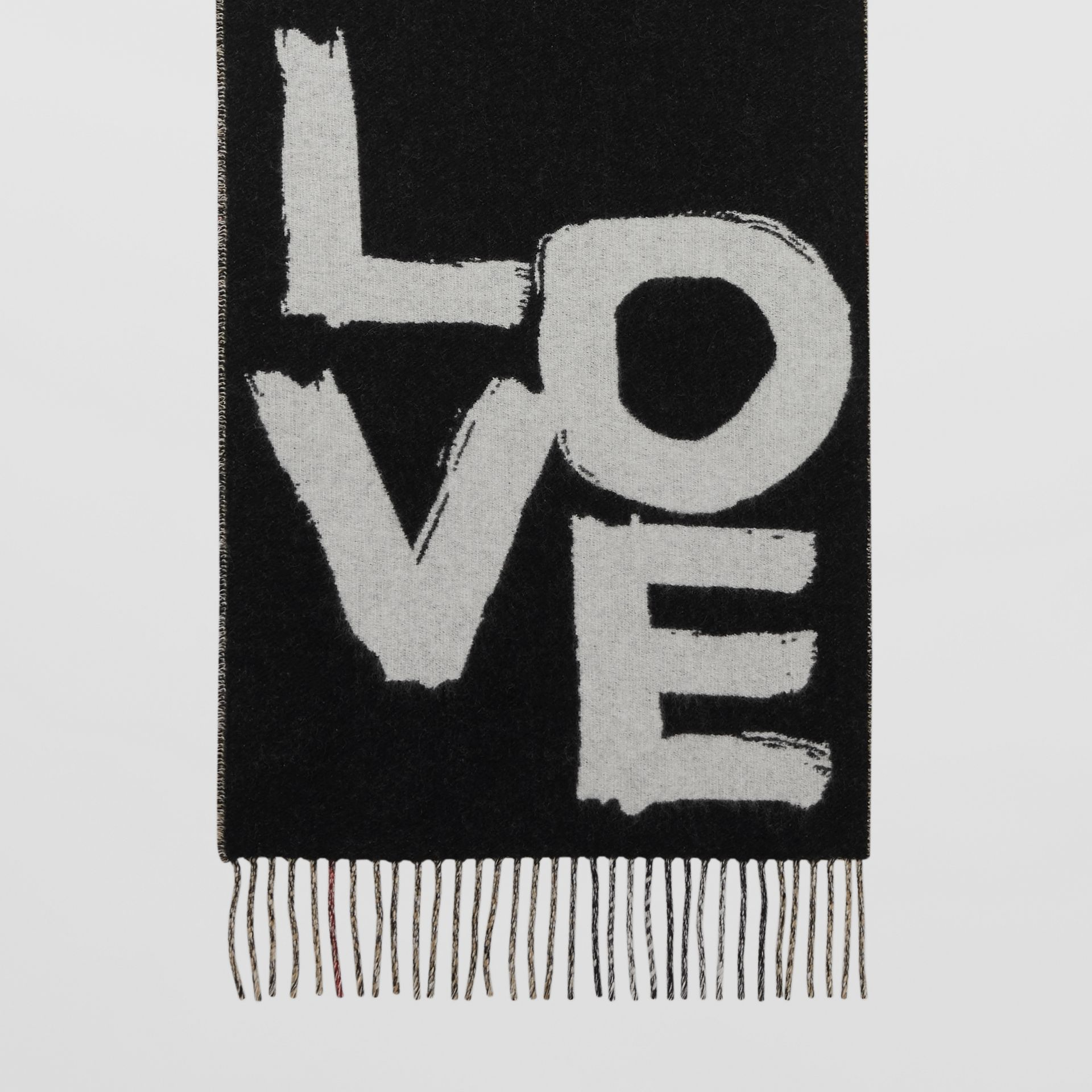Love and Check Cashmere Jacquard Scarf in Black | Burberry - gallery image 3