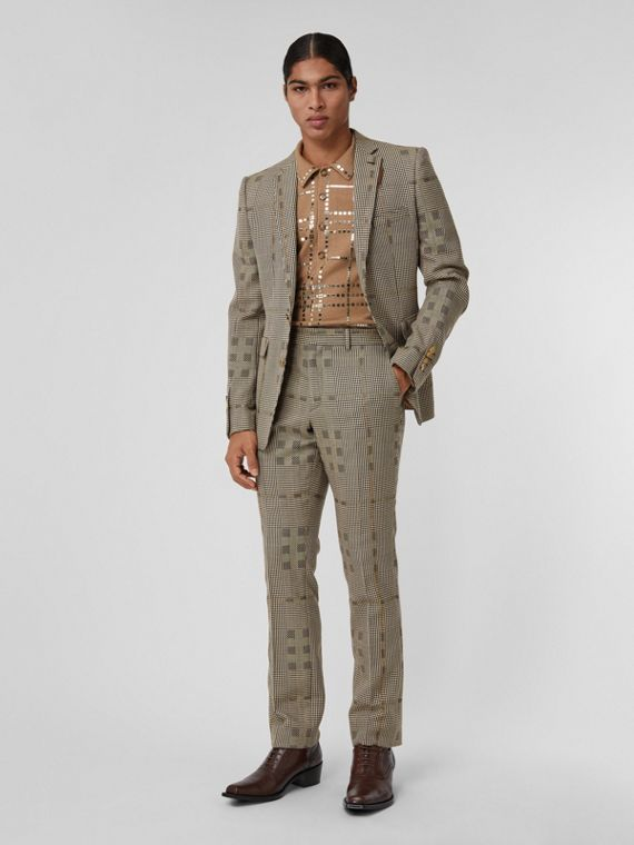 Check Wool and Lamé Tailored Trousers in Brown