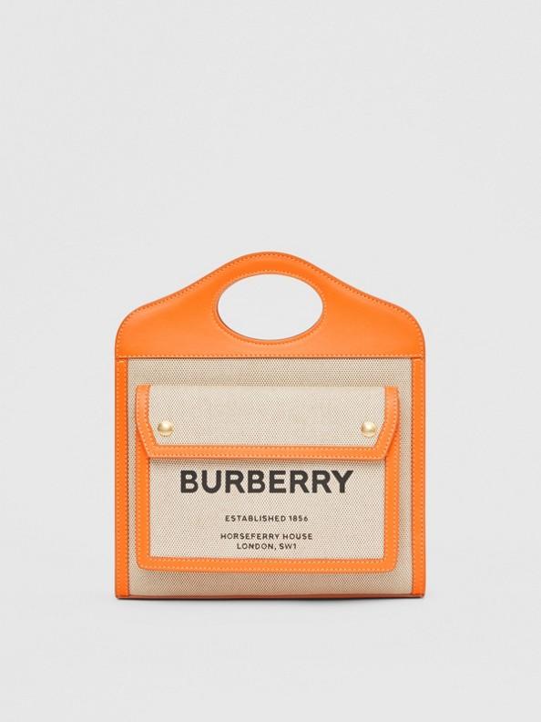 Bolso Pocket mini de dos tonos en lona y piel (Naranja)