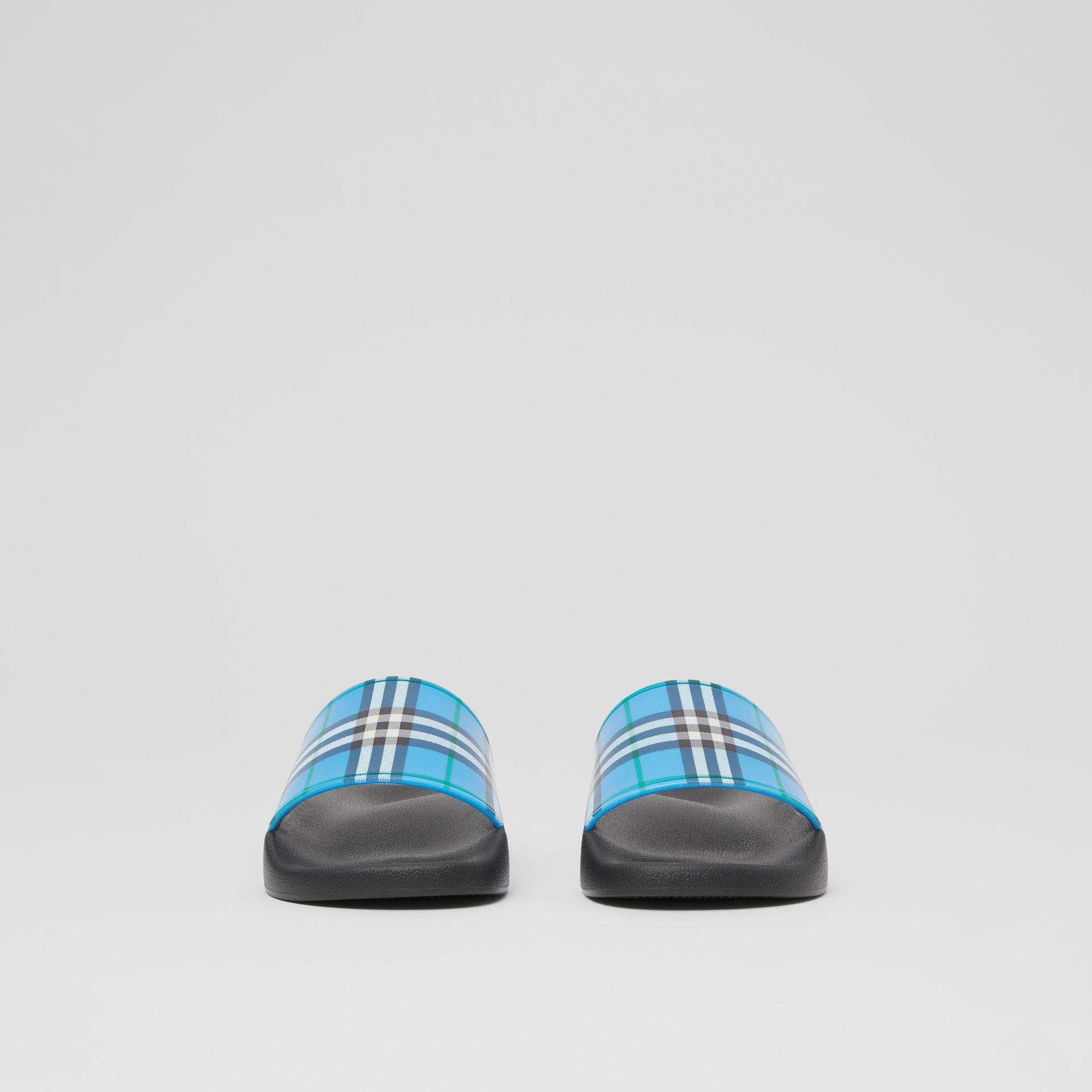 Check Print Slides in Blue Azure - Women | Burberry United Kingdom - gallery image 2