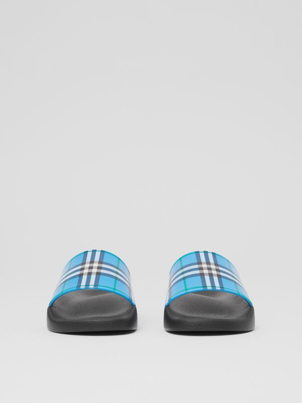 Check Print Slides in Blue Azure - Women | Burberry United Kingdom - cell image 2