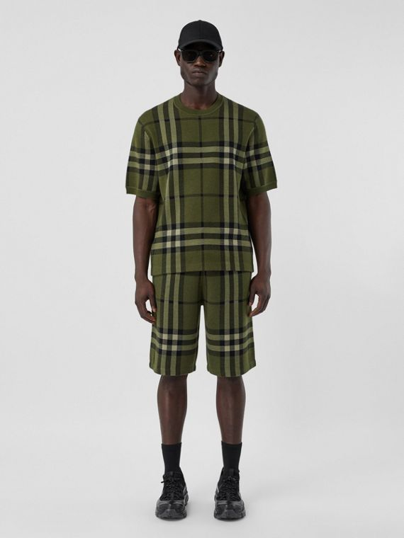 Pantaloncini in seta e lana con motivo tartan in jacquard (Verde Foresta Scuro)