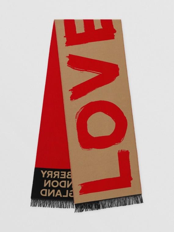 Schal aus Woll- und Seidenjacquard mit Love-Schriftzug und Burberry-Logo (Vintage-beige)