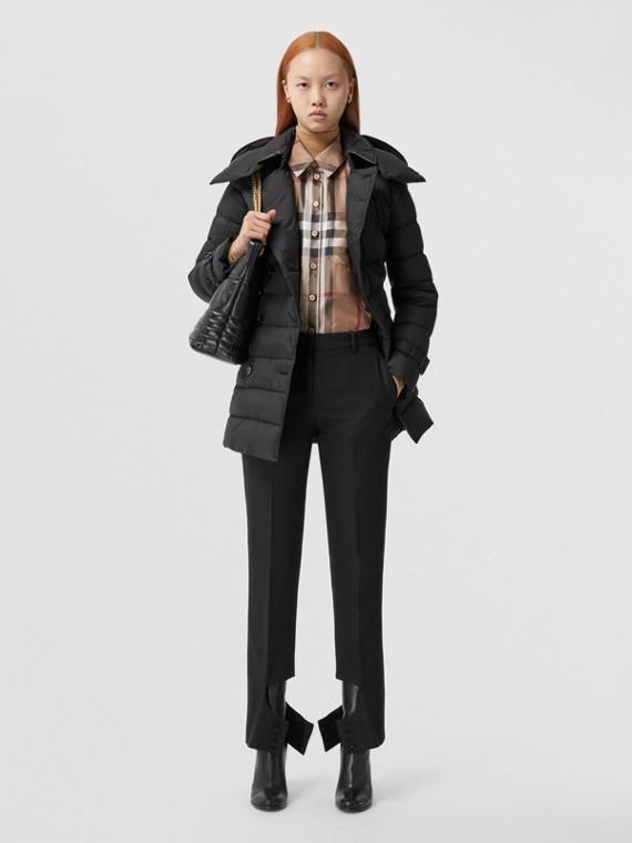 Detachable Hood Puffer Coat in Black