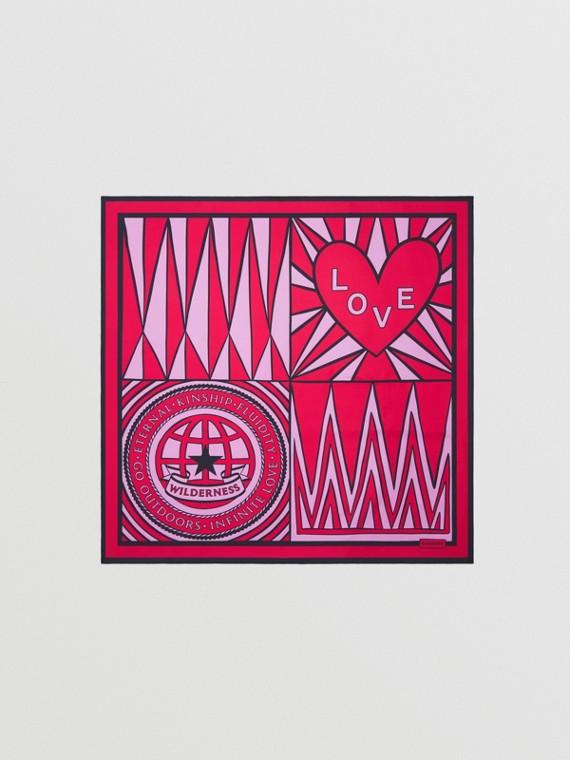 Geometric Love Print Silk Square Scarf in Bright Red