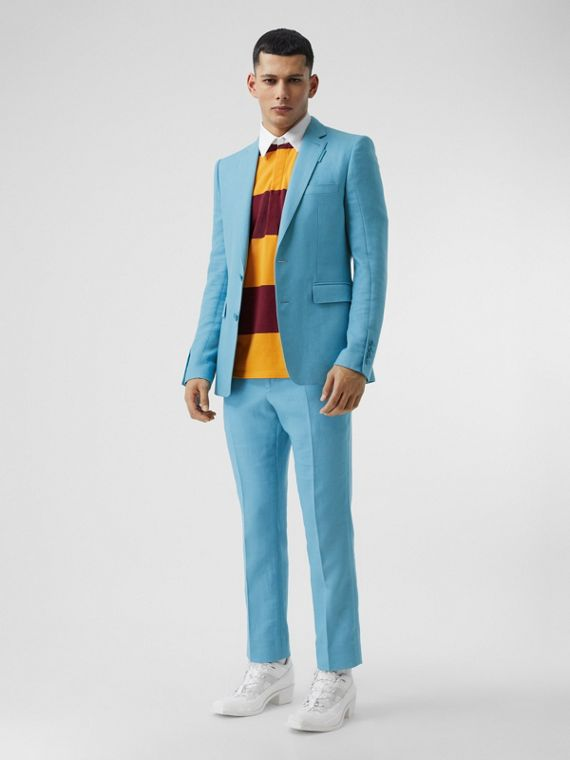 Wool Ramie Tailored Trousers in Blue Topaz