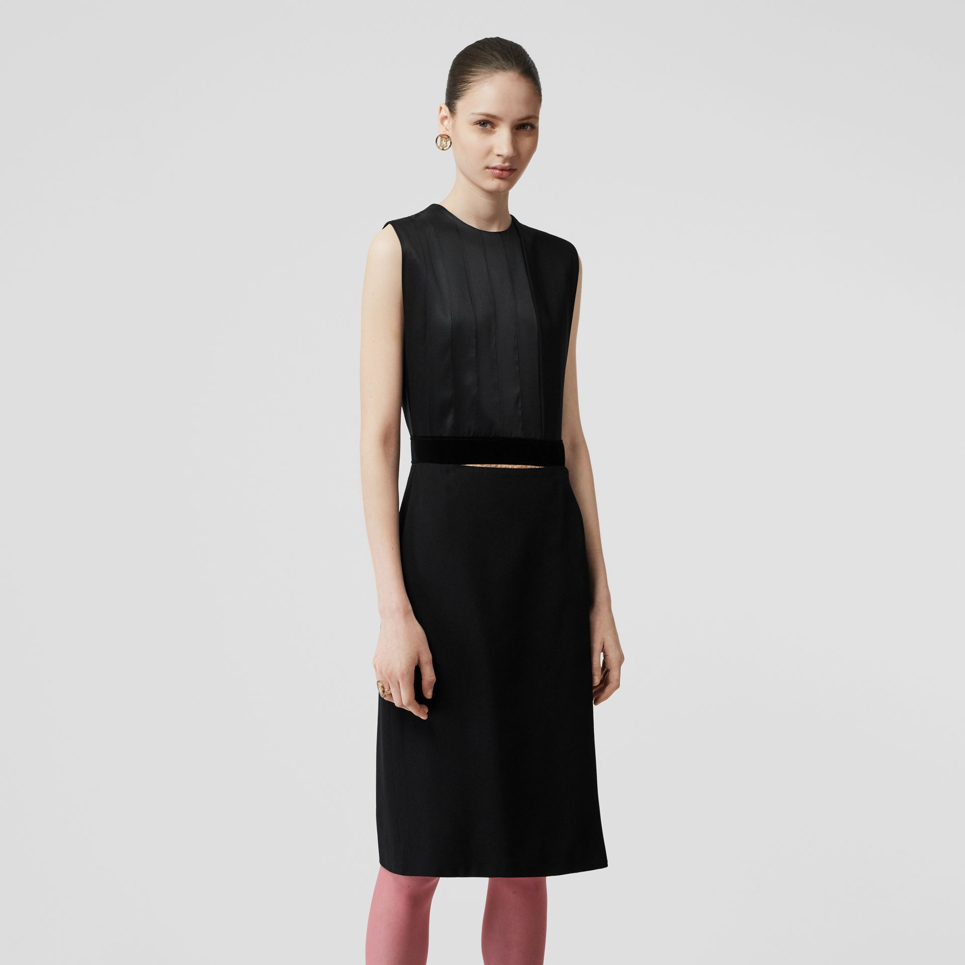 Panel Detail Silk and Wool Shift Dress in Black - Women | Burberry - gallery image 5