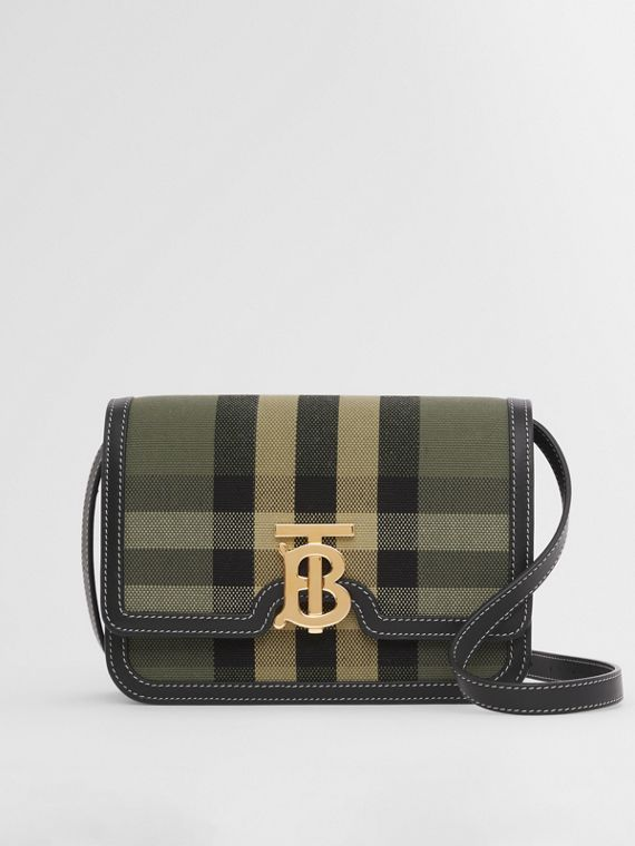 Small Check Canvas and Leather TB Bag in Military Green
