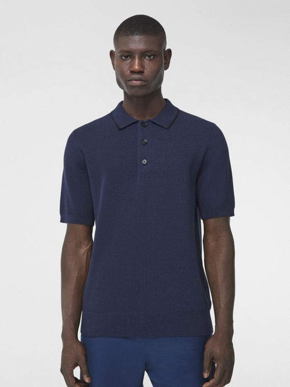 Technical Silk Cotton Piqué Polo Shirt in Ink Blue