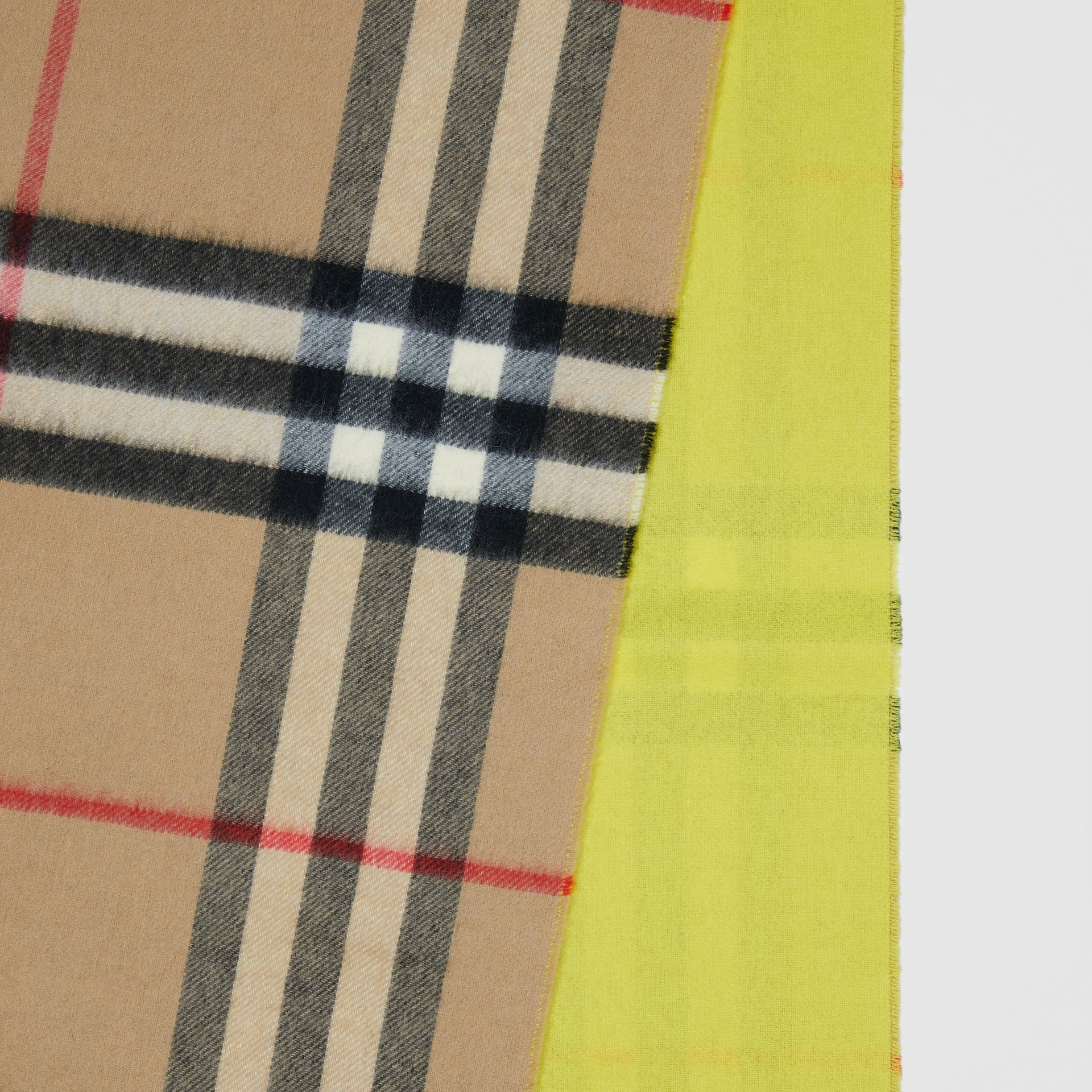 Reversible Check Cashmere Scarf in Yellow | Burberry Canada - gallery image 1