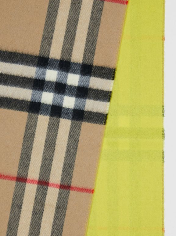 Reversible Check Cashmere Scarf in Yellow | Burberry - cell image 1