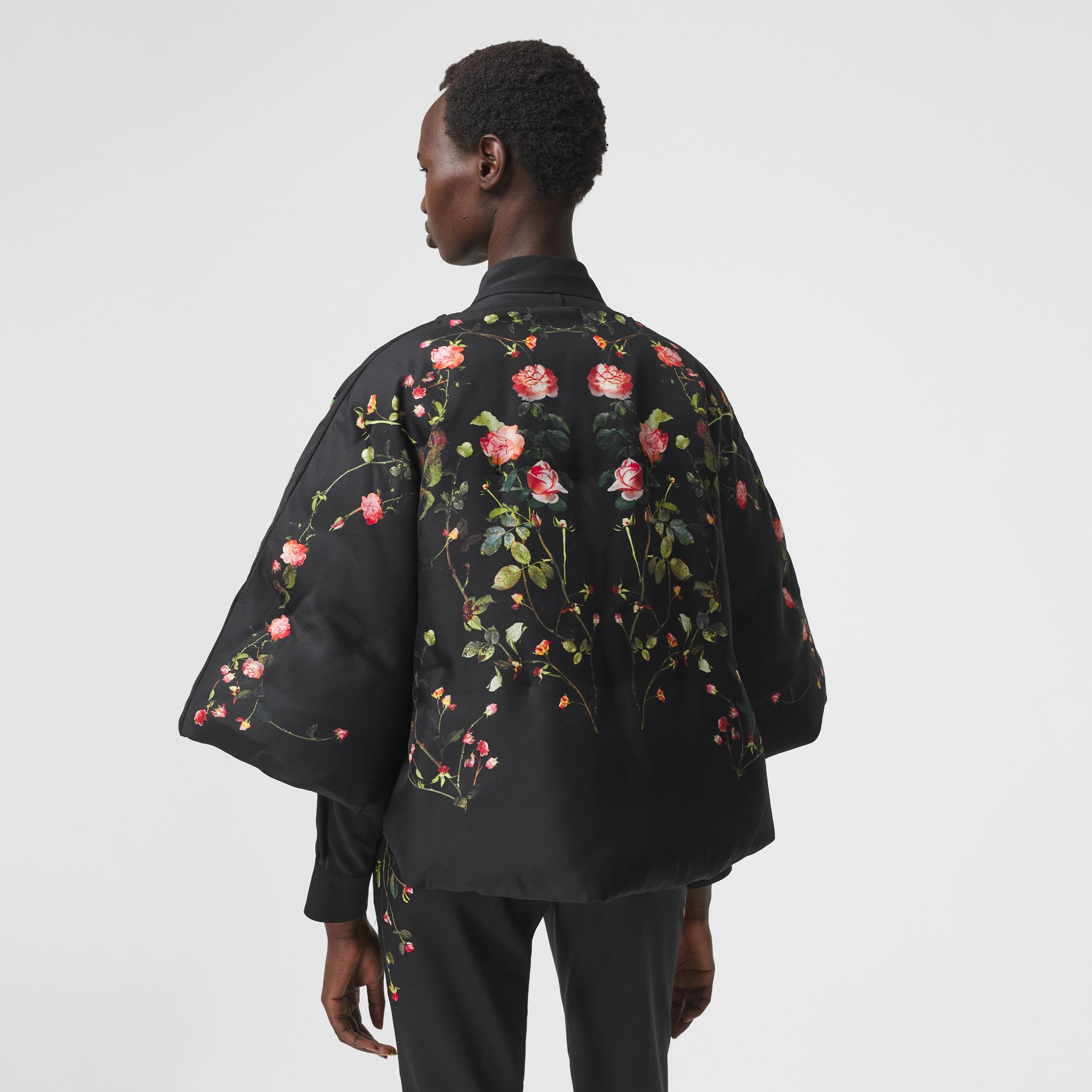 Rose Print Silk Cape in Black - Women | Burberry - gallery image 2
