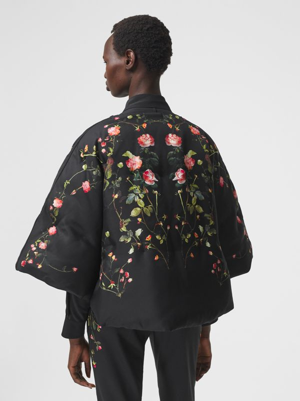Rose Print Silk Cape in Black - Women | Burberry - cell image 2