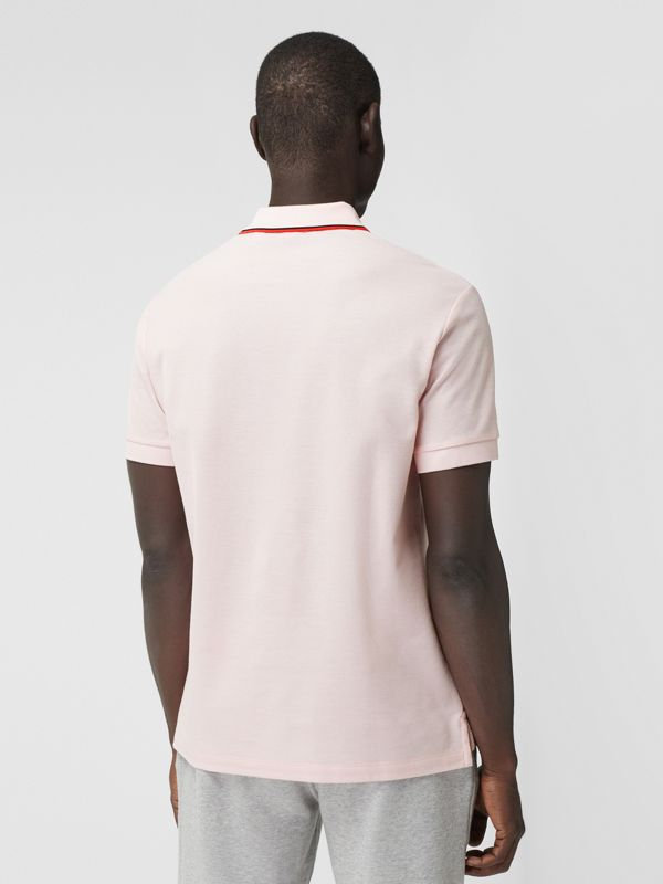 Monogram Motif Cotton Piqué Polo Shirt in Frosted Pink - Men | Burberry - cell image 2
