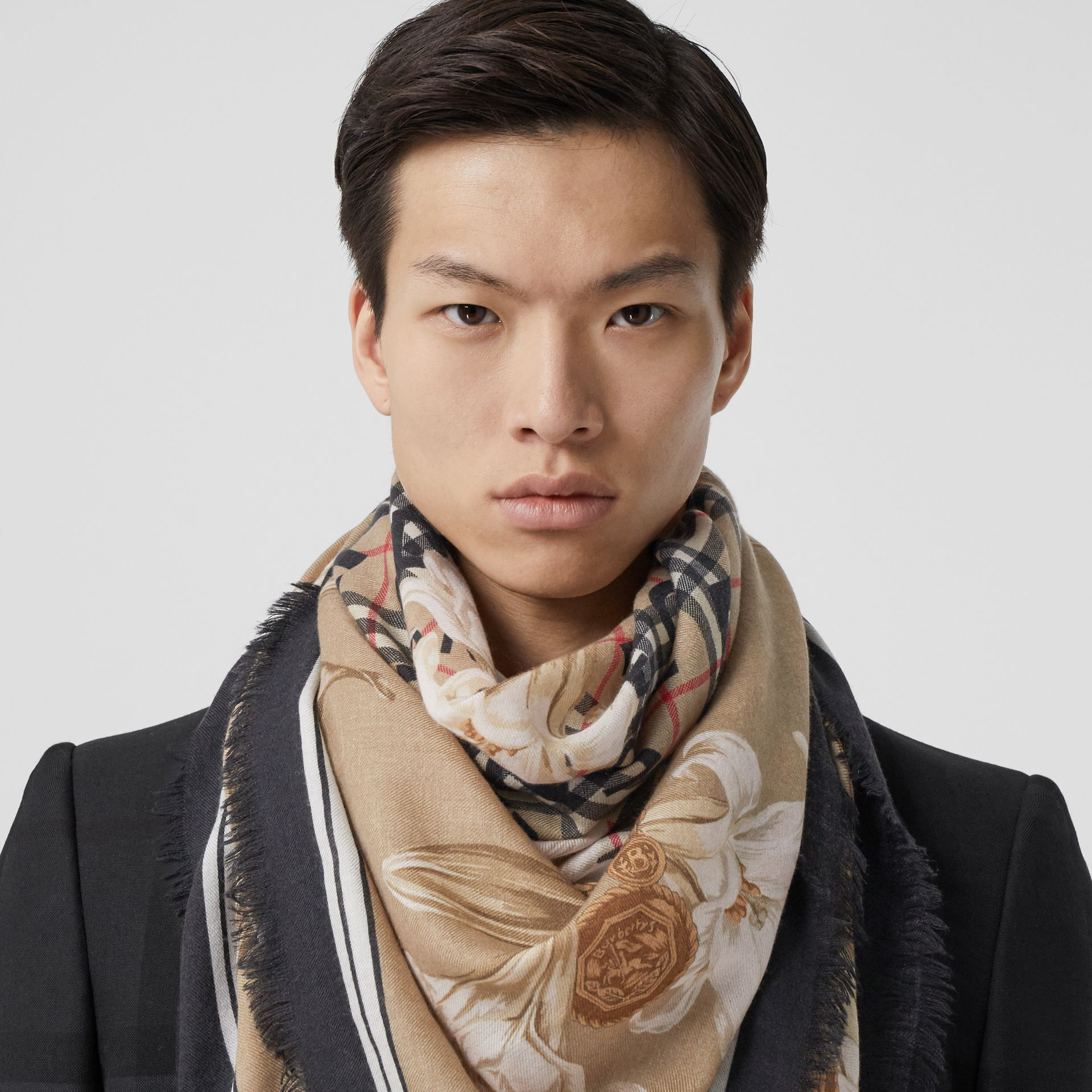 Archive Scarf Print Cashmere Large Square Scarf in Beige | Burberry - gallery image 3