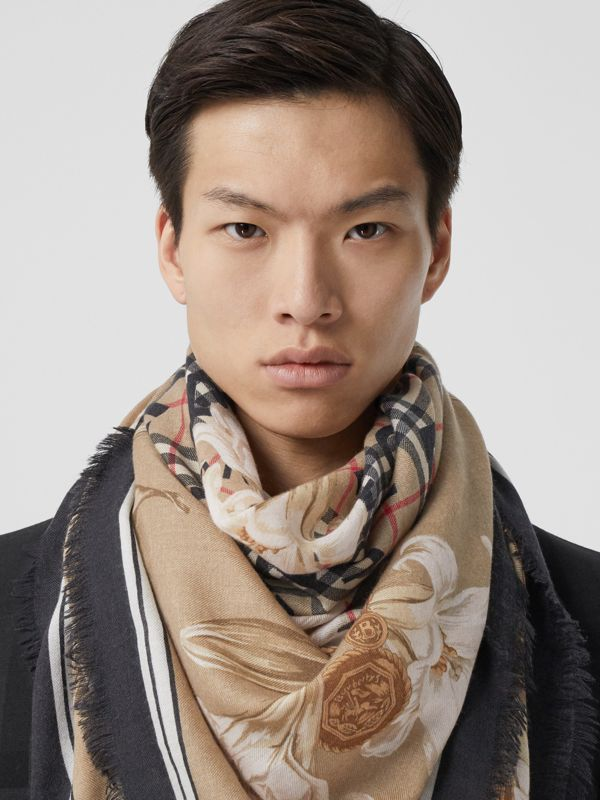 Archive Scarf Print Cashmere Large Square Scarf in Beige | Burberry - cell image 3