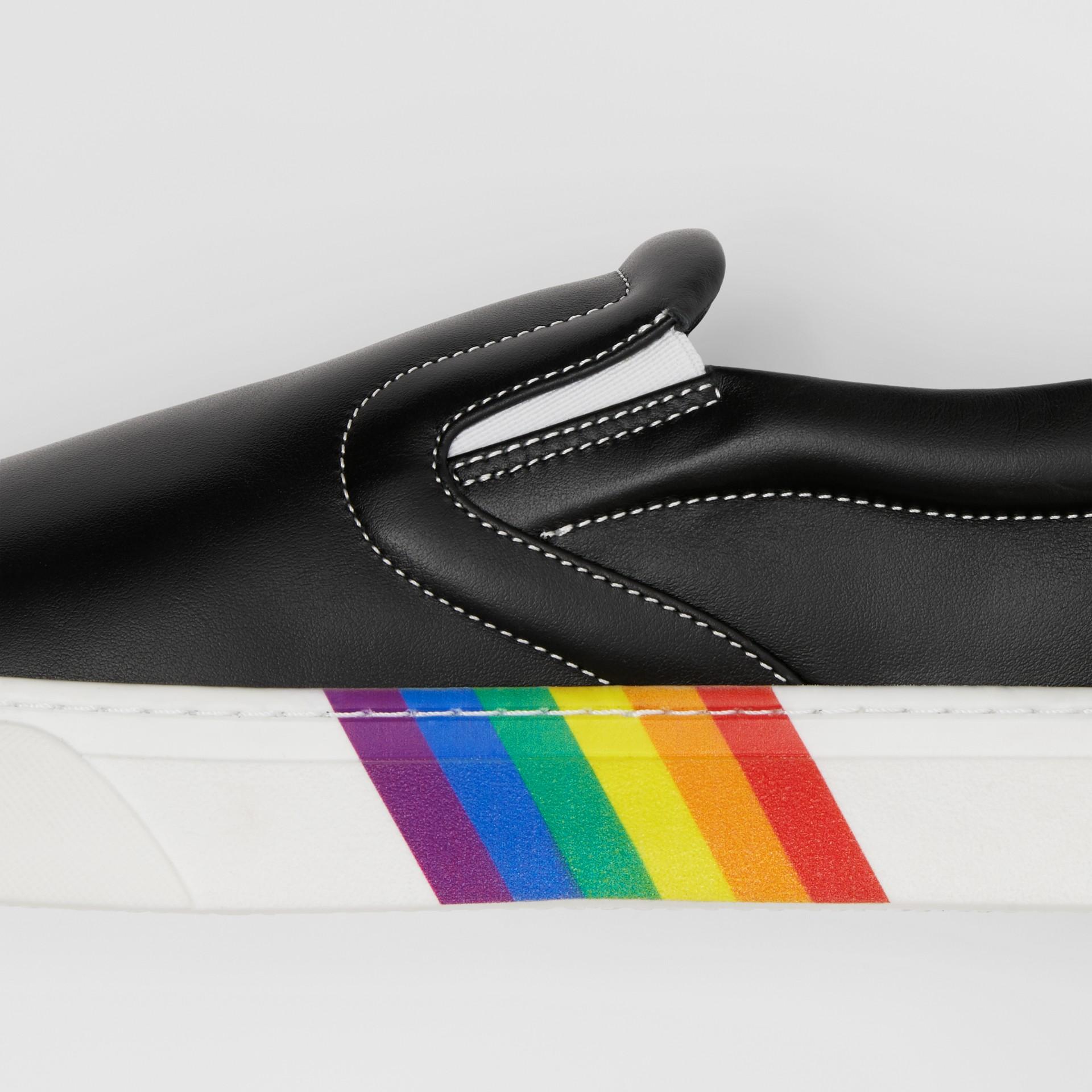 Rainbow Print Leather Slip-on Sneakers in Black - Women   Burberry United Kingdom - gallery image 1