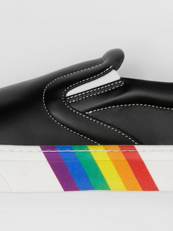Rainbow Print Leather Slip-on Sneakers in Black - Women   Burberry United Kingdom - cell image 1