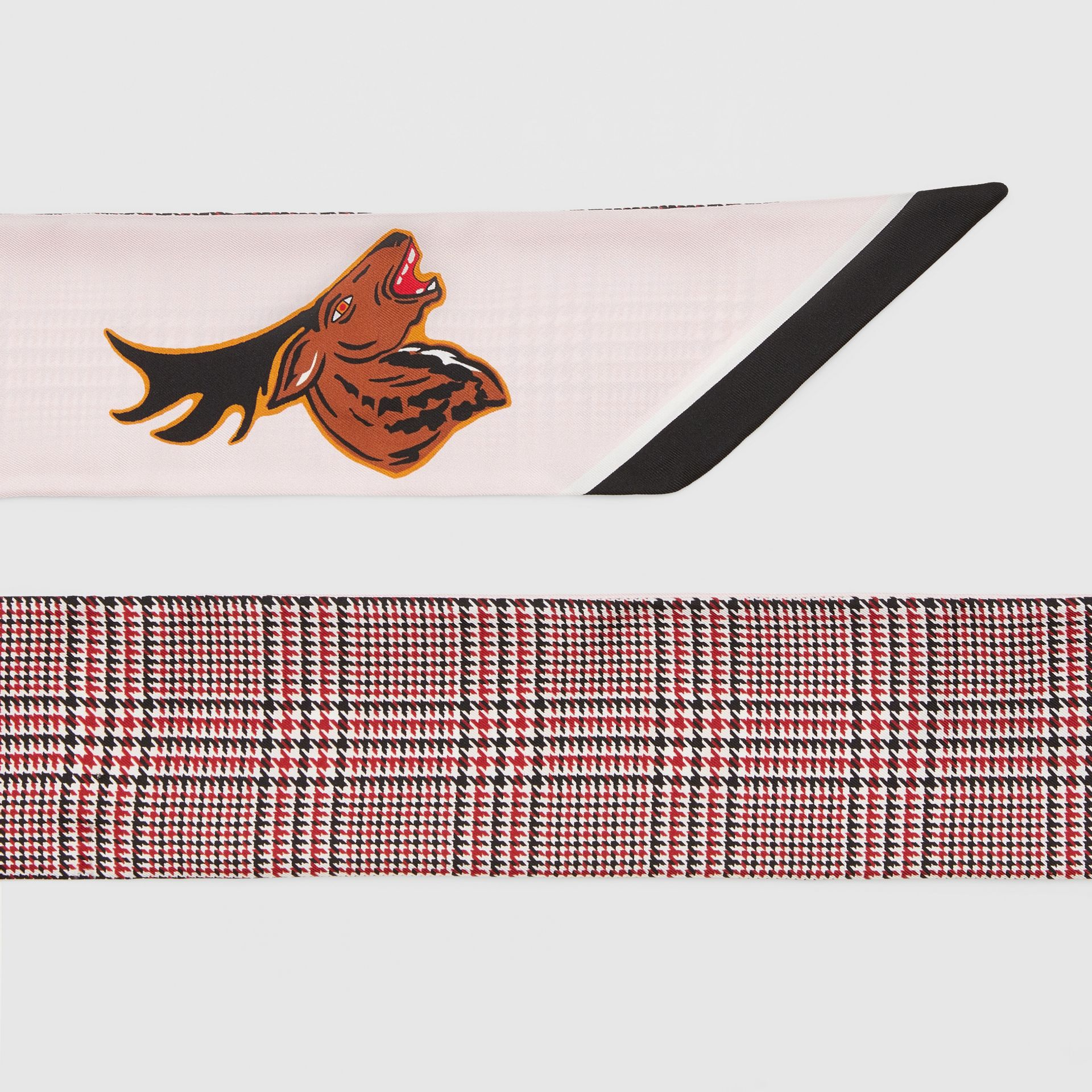 Varsity Graphic and Houndstooth Check Silk Skinny Scarf in Pink | Burberry - gallery image 1