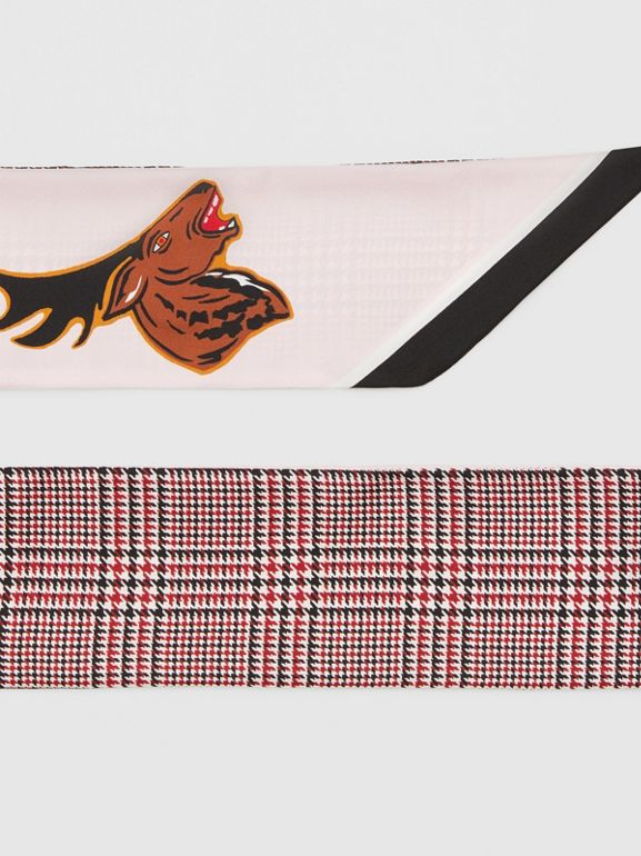 Varsity Graphic and Houndstooth Check Silk Skinny Scarf in Pink | Burberry - cell image 1