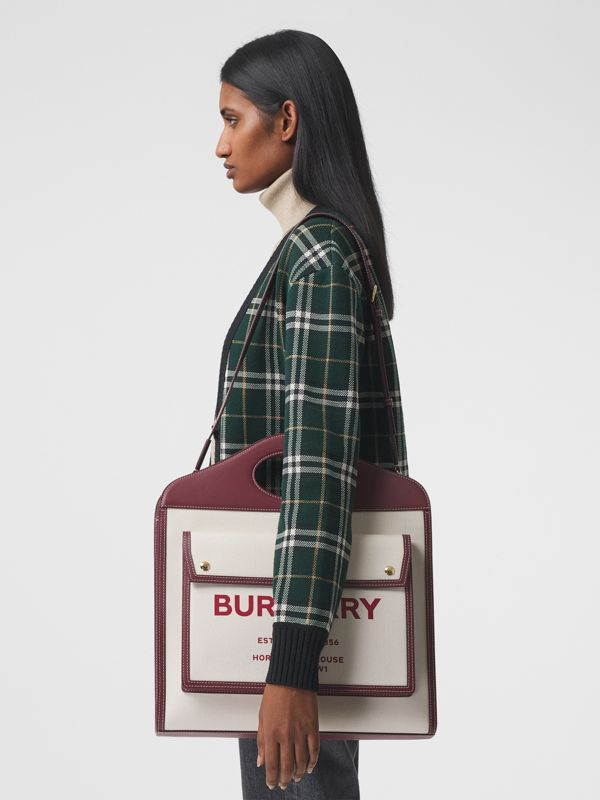 Medium Two-tone Canvas and Leather Pocket Bag in Natural/garnet - Women | Burberry - cell image 2