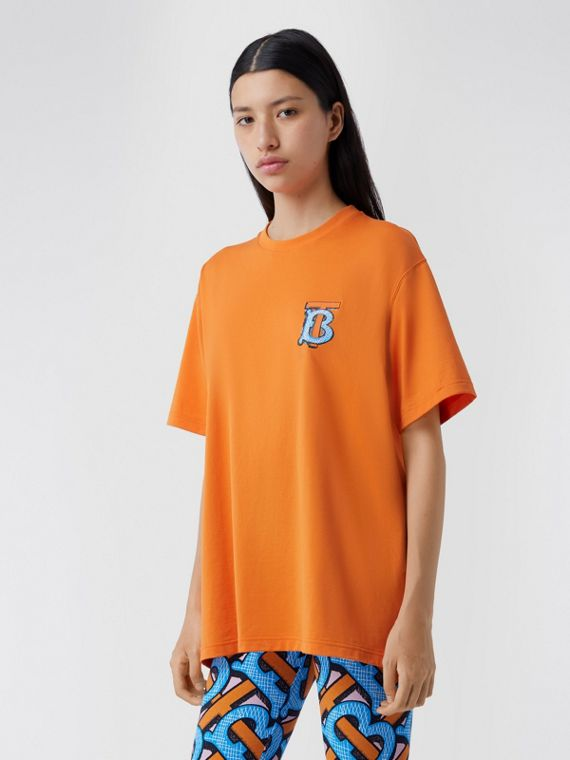 Monogram Motif Cotton T-shirt – Unisex in Bright Orange