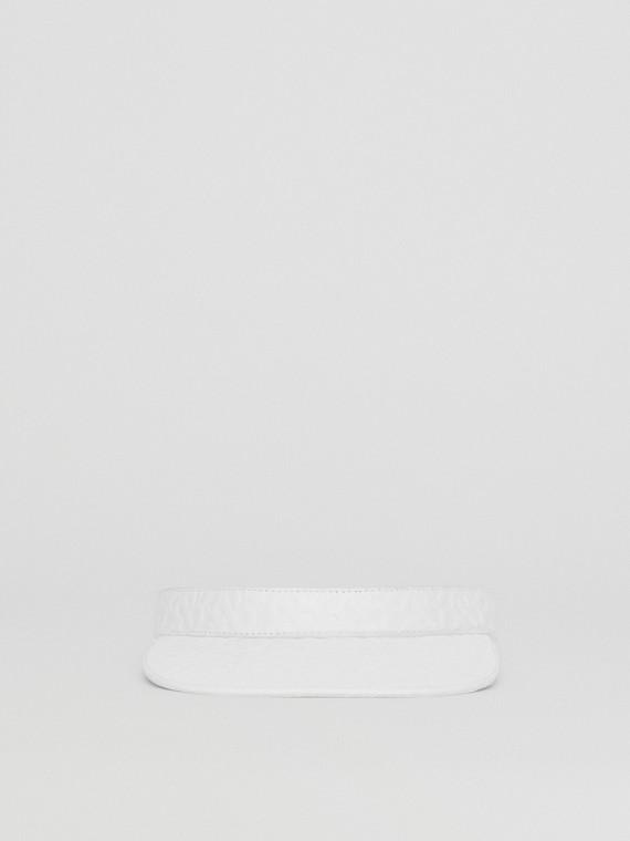 Visiera in pelle di agnello con monogramma in rilievo (Bianco)