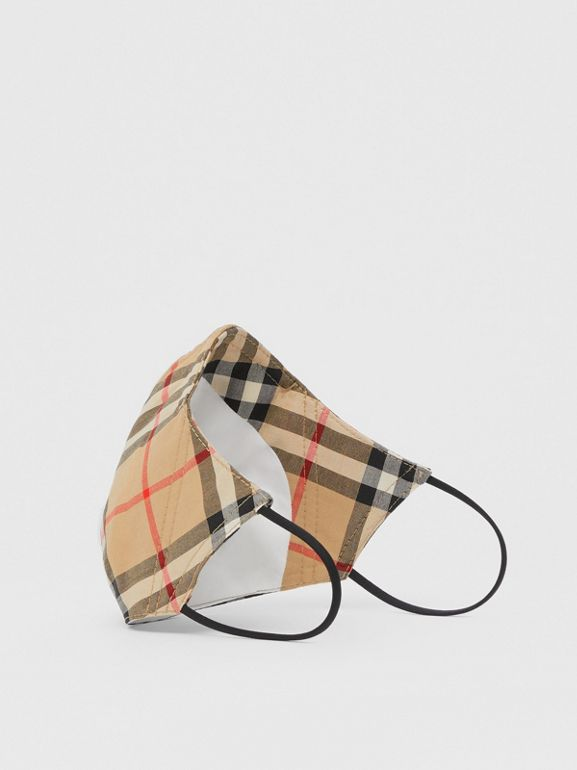Vintage Check Cotton Face Mask in Archive Beige - Women | Burberry - cell image 1