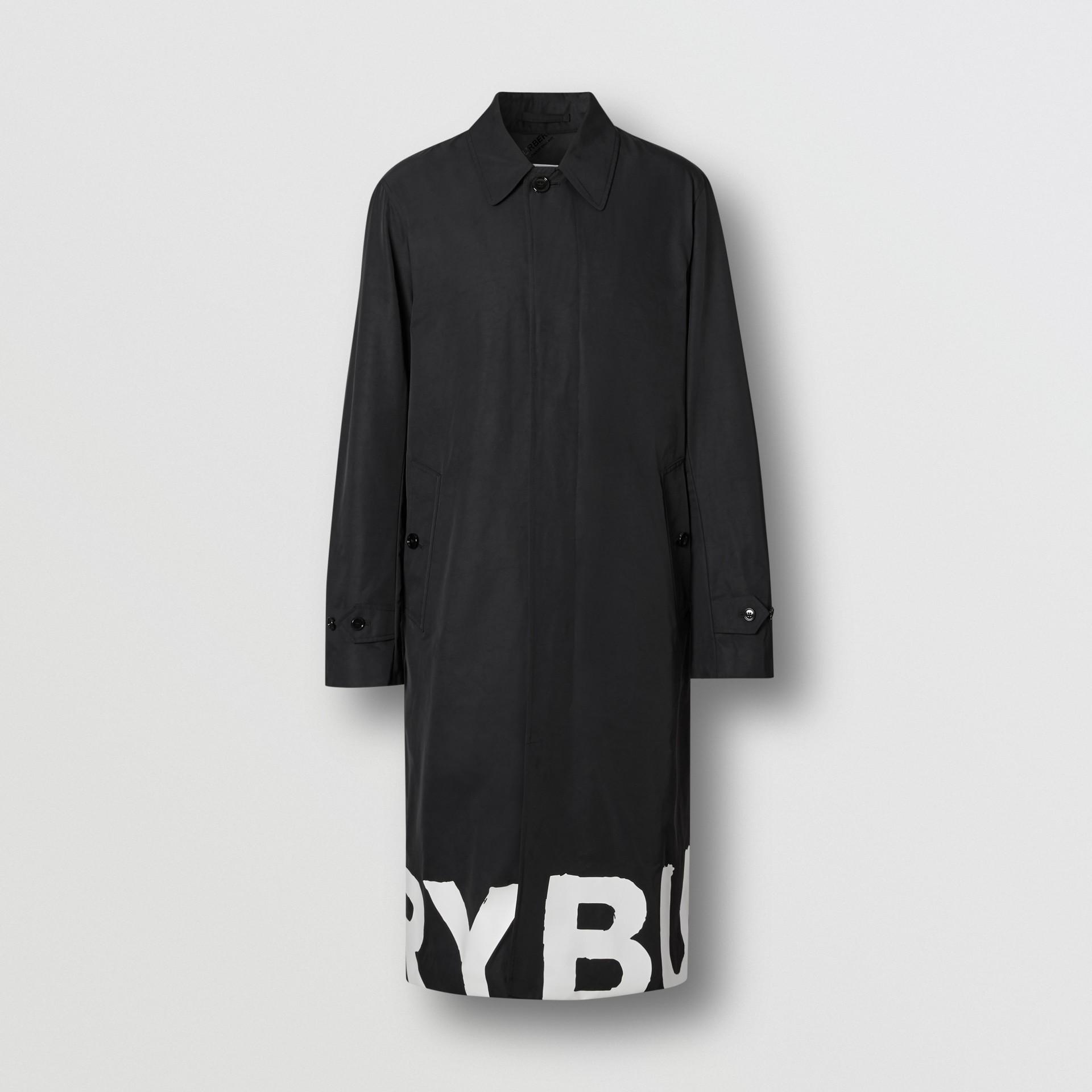 Abrigo tres cuartos en nailon con estampado de logotipo (Negro) - Hombre | Burberry - imagen de la galería 3