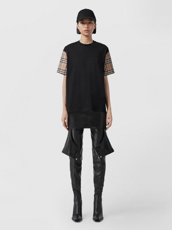 Vintage Check Sleeve Cotton Oversized T-shirt (Black)