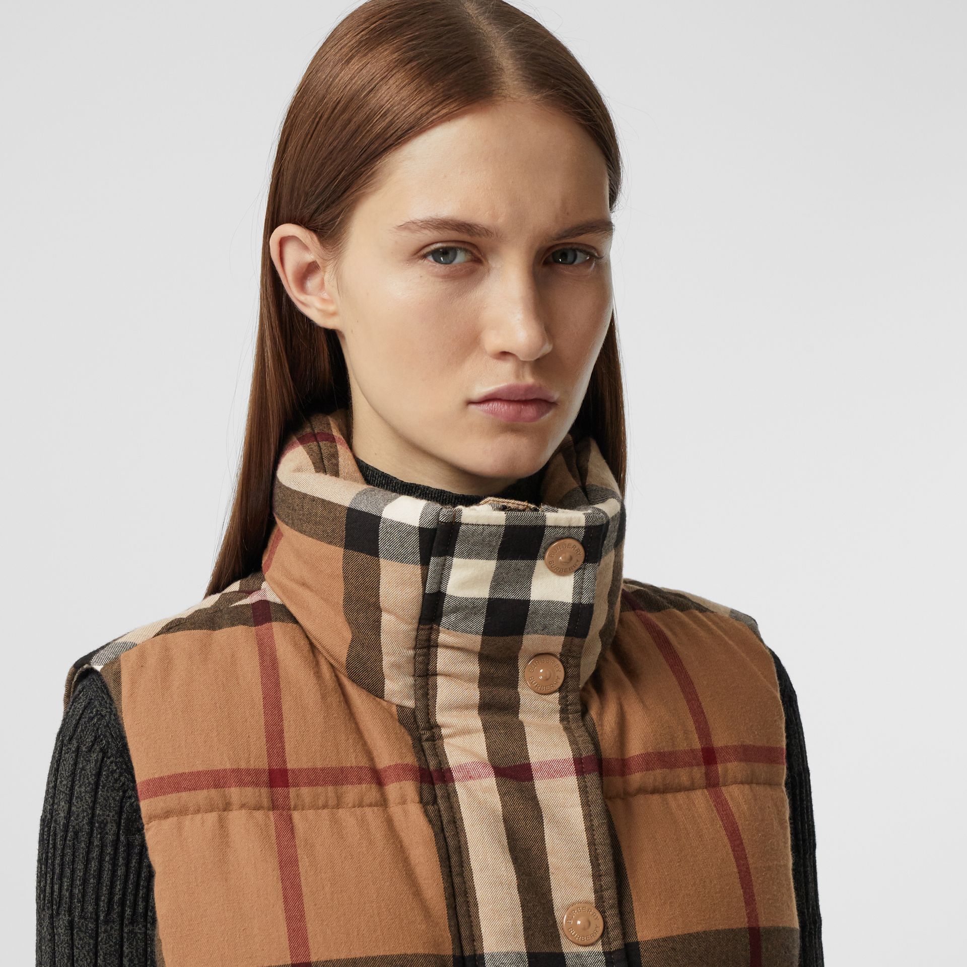Check Cotton Flannel Puffer Gilet in Birch Brown - Women | Burberry - gallery image 1