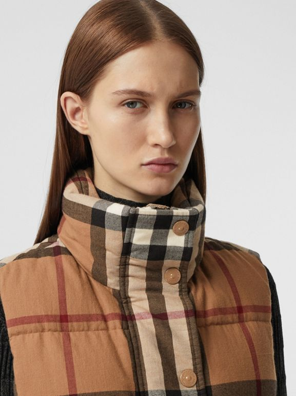 Check Cotton Flannel Puffer Gilet in Birch Brown - Women | Burberry - cell image 1