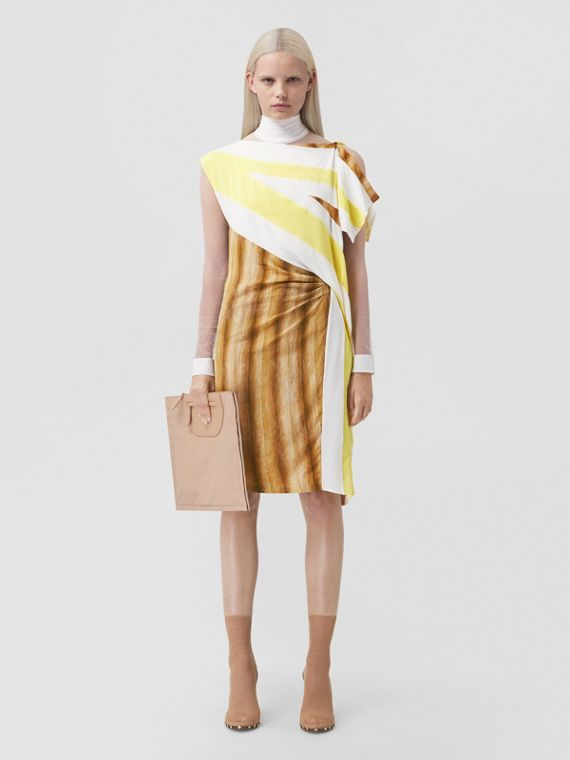 Flag and Animal Print Silk Asymmetric Dress in Bright Straw