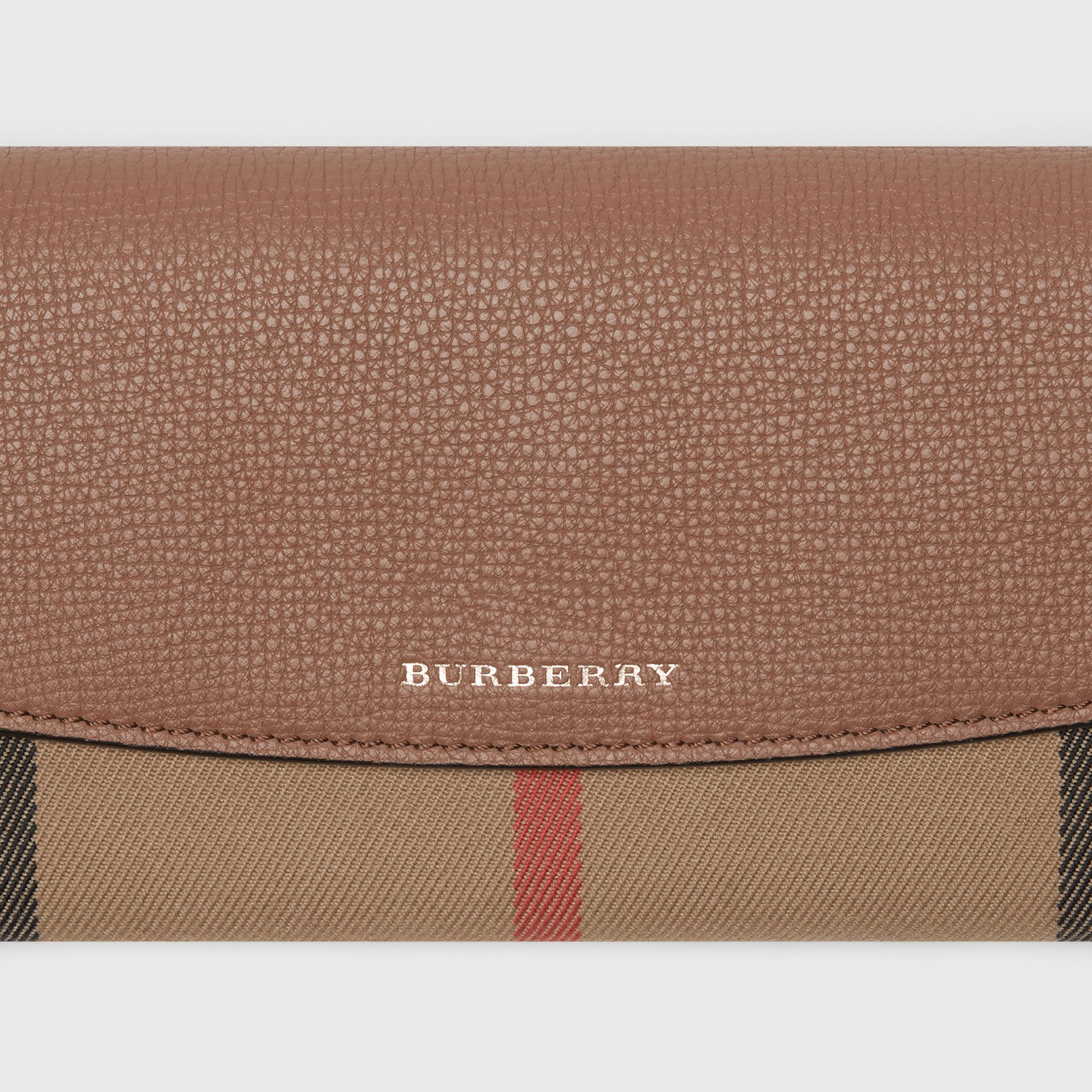 House Check and Leather Continental Wallet in Dark Sand - Women | Burberry - gallery image 1
