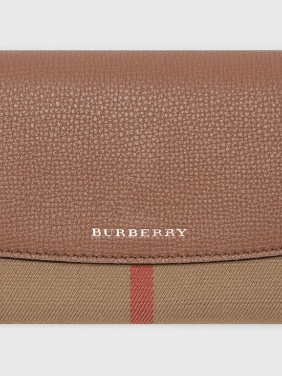 House Check and Leather Continental Wallet in Dark Sand - Women | Burberry - cell image 1