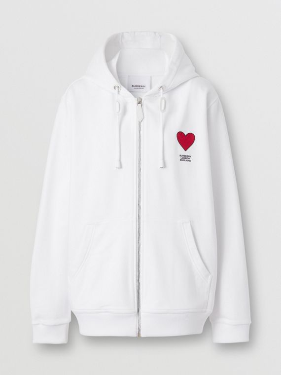 Heart Motif Cotton Hooded Top – Unisex in White