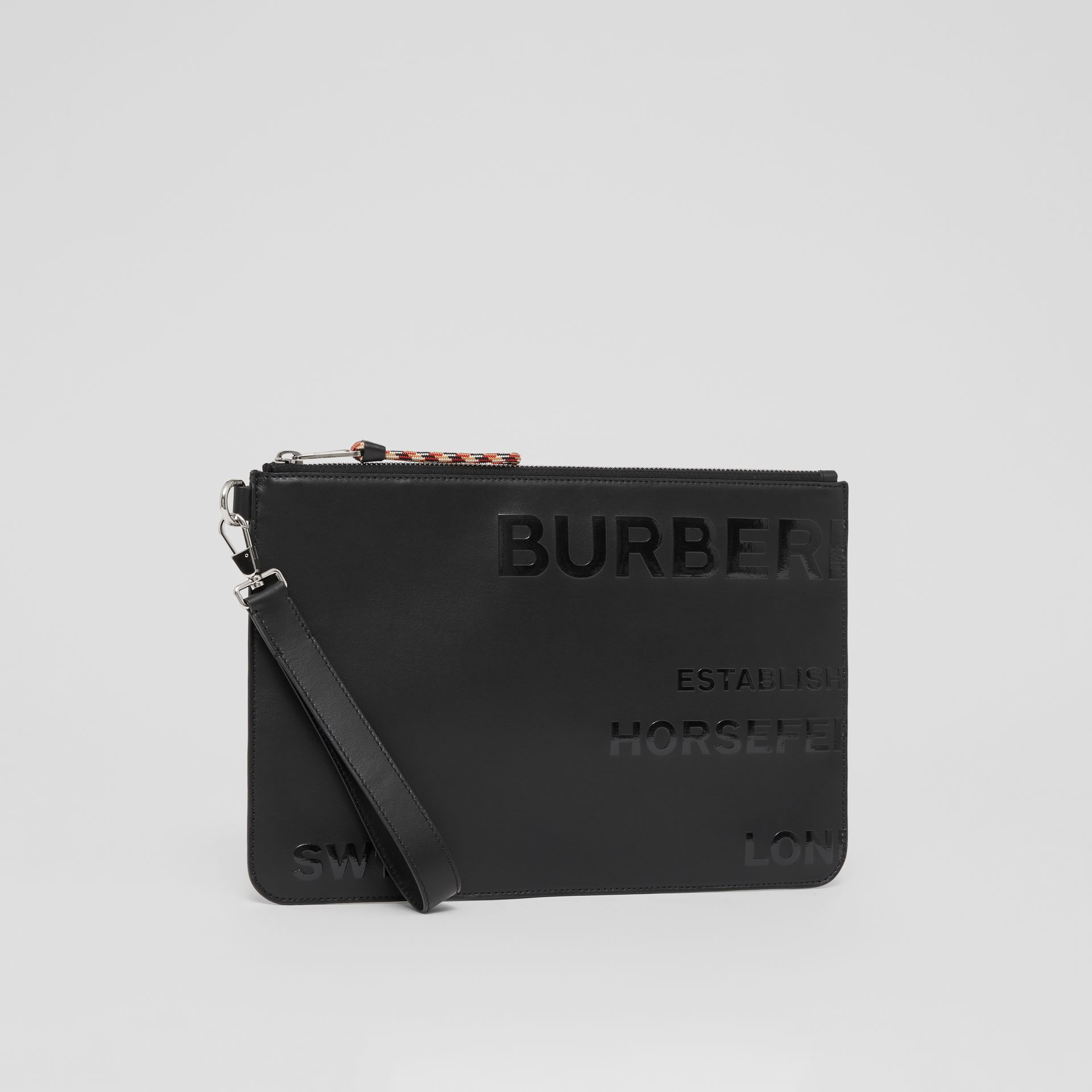 Horseferry Print Leather Zip Pouch in Black | Burberry - gallery image 5