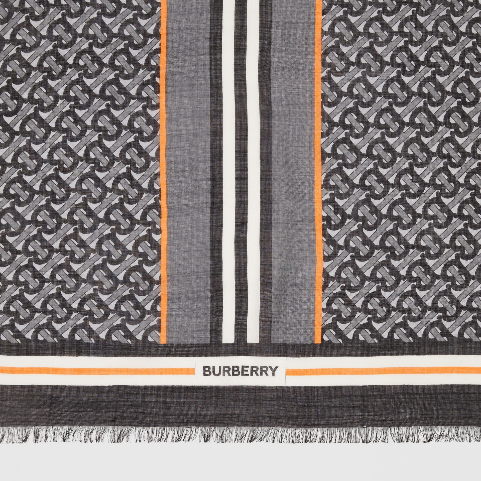 Icon Stripe Monogram Print Wool Silk Square Large Scarf in Graphite | Burberry - gallery image 1