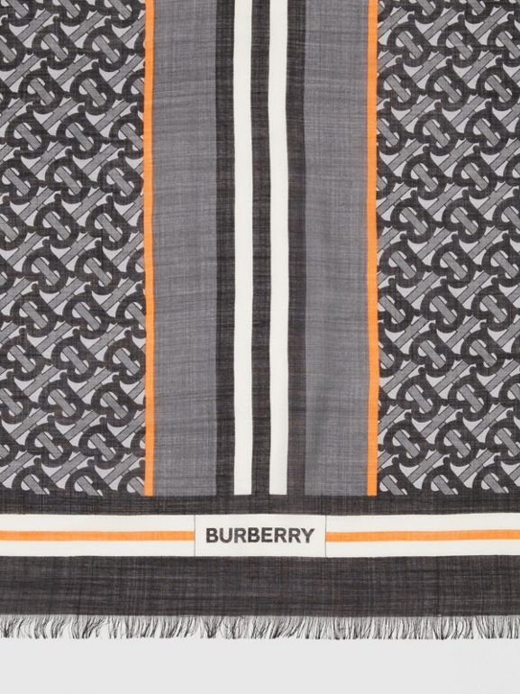 Icon Stripe Monogram Print Wool Silk Square Large Scarf in Graphite | Burberry Canada - cell image 1