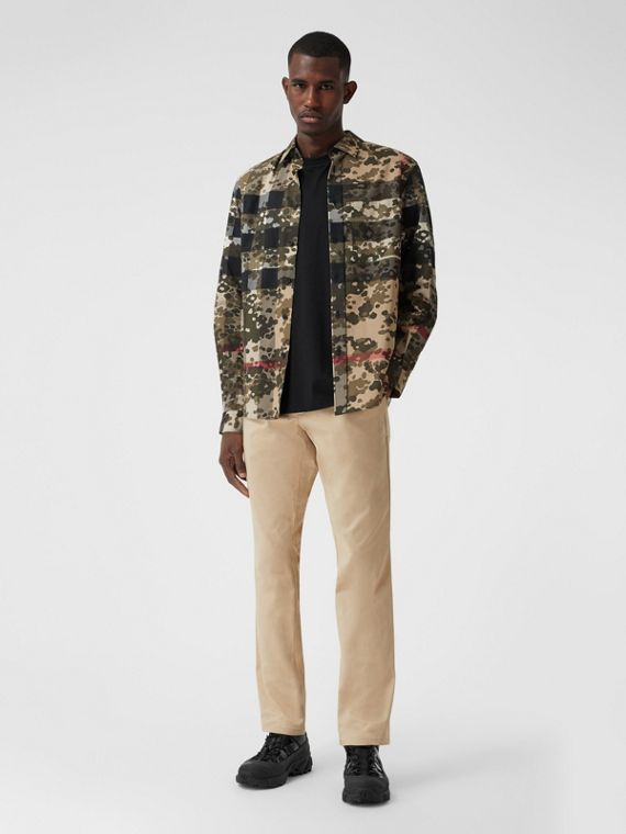 經典剪裁標誌性條紋細節設計棉緞工作褲 (柔和淺黃褐色)