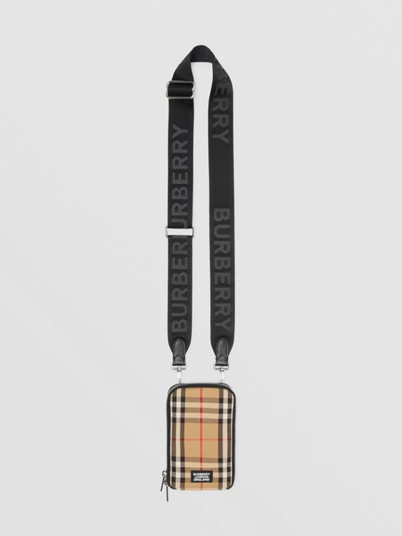 Vintage Check Phone Case with Detachable Strap in Archive Beige