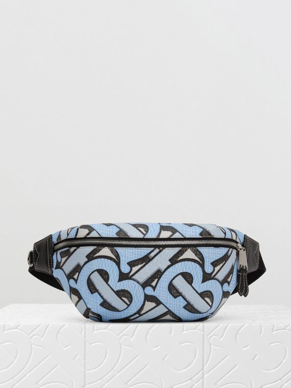 Monogram Print E-canvas Sonny Bum Bag in Pale Azure