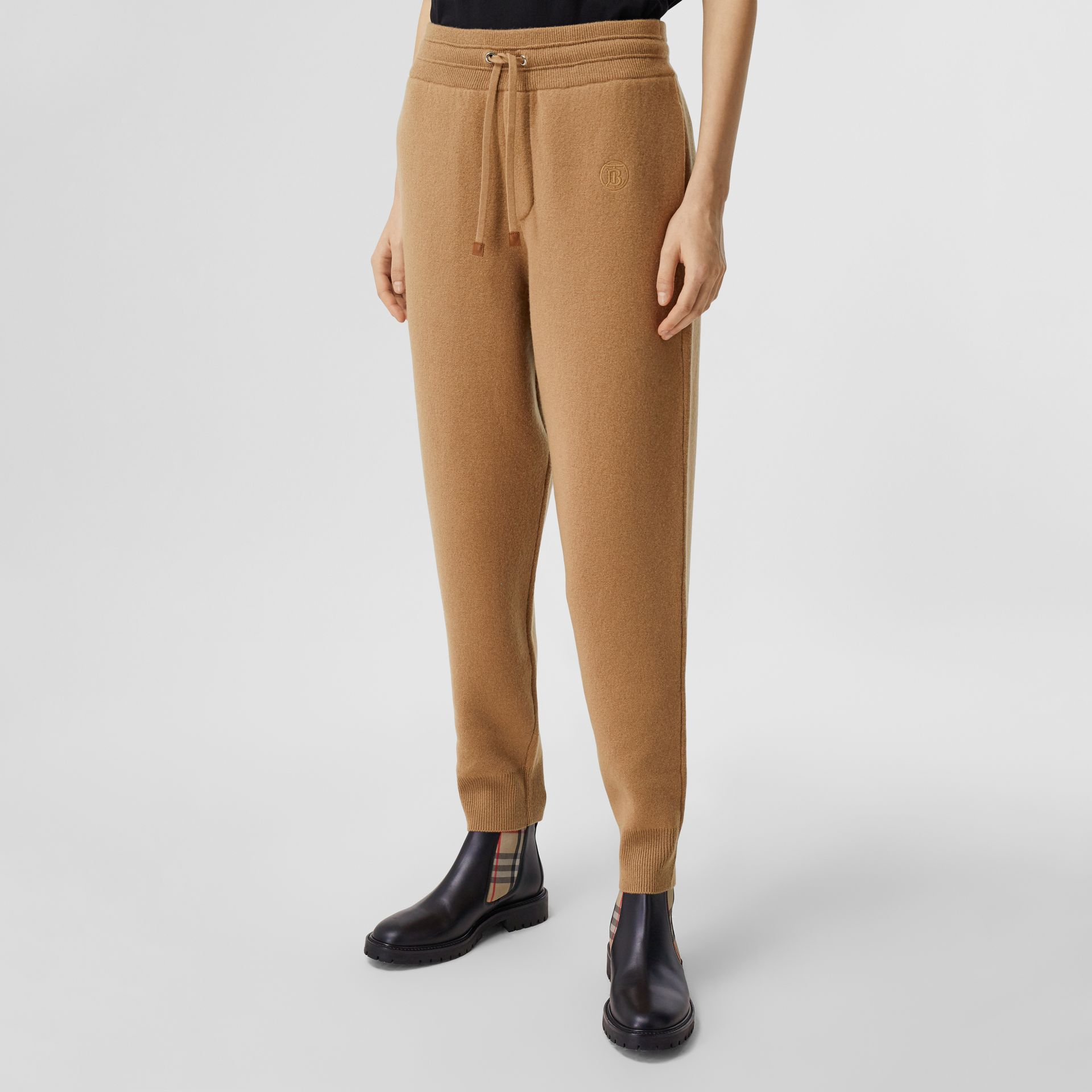 Monogram Motif Cashmere Blend Jogging Pants in Camel - Women | Burberry - gallery image 4
